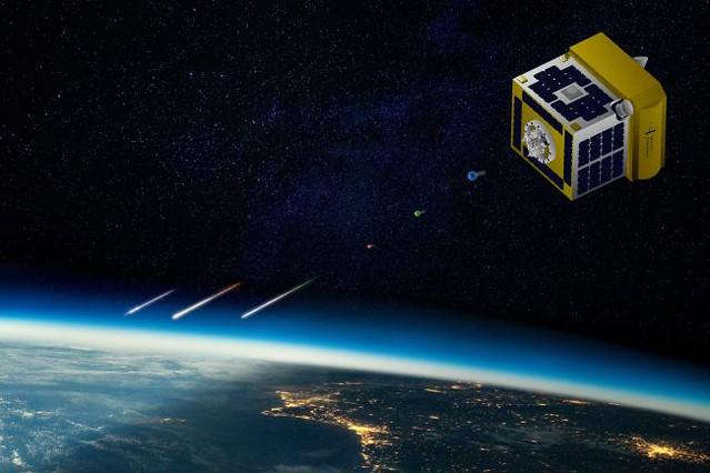 VCSE - Mesterséges meteorhullást produkál az ALE műholdak egyike - fantáziarajz - Forrás: ALE, space.com