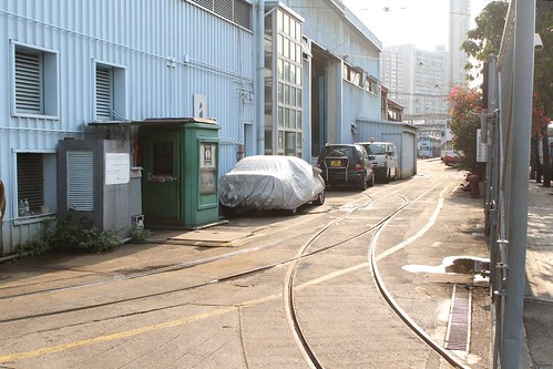 Single track exits the rear gate at Whitty Street Depot onto Fung Mat Road