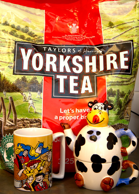 Smile on Saturday - Tea-rific!    A large bag of tea bags, a cow teapot and a colourful mug.  Add water and make a brew!  IMG_2960