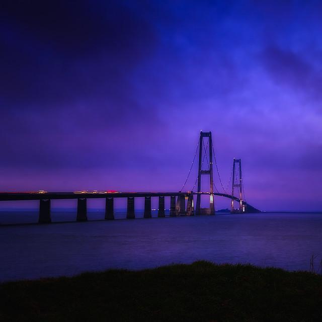 Great Belt Bridge in blue hour.