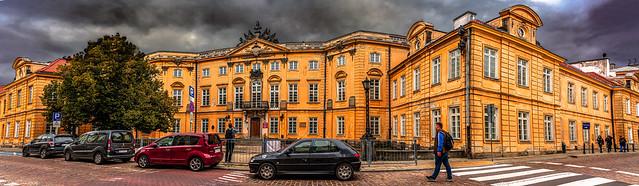 Multiphoto panorama of  Sapieha Palace, New Town, Warsaw, Poland.  117-Pano-Editx