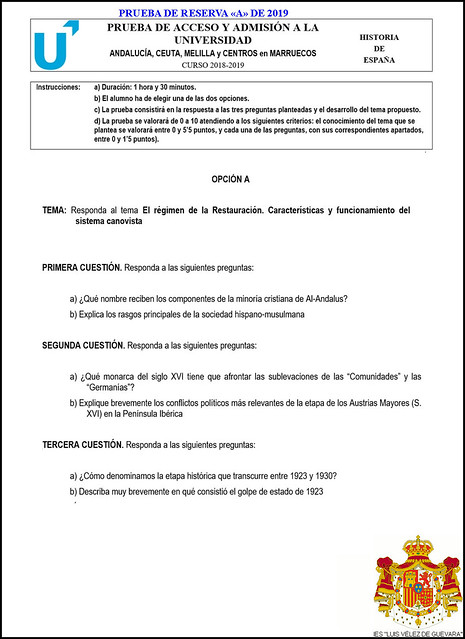 2018-2019 Historia de España Propuesta #1 Prueba de Reserva - A (Opción «A»)