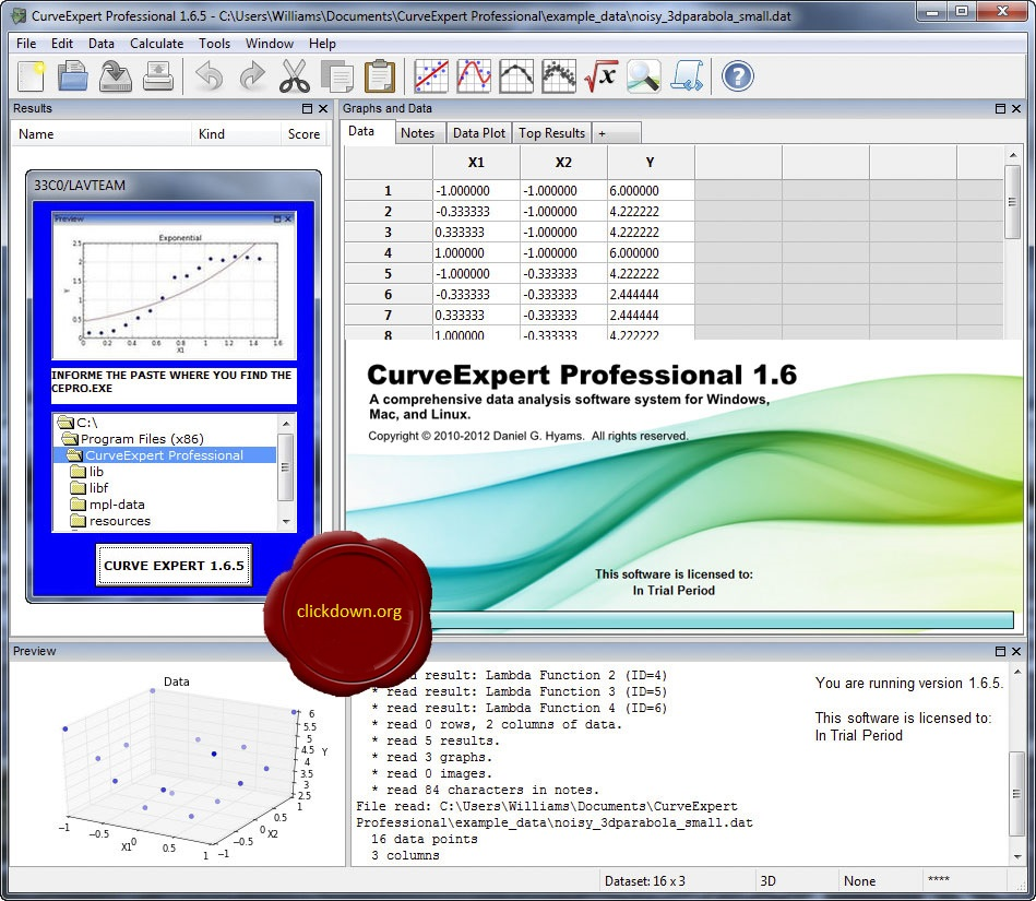 Working with CurveExpert Professional 1.6.5 full license