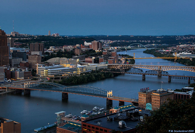 Bridges up the Blue Monongahela River from Grandview Overlook Park