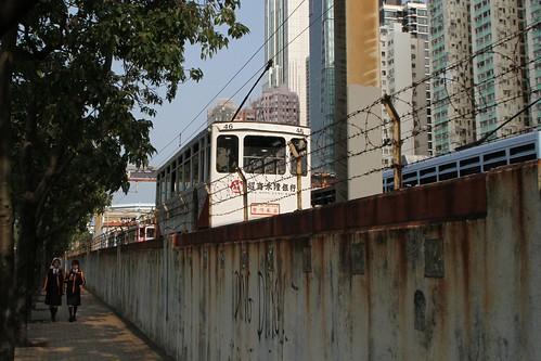Tram #46 'spearing' the trolley pole inside the depot