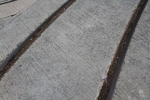 Rusted tracks at the intersection of Chiu Kwong Street and Connaught Road West