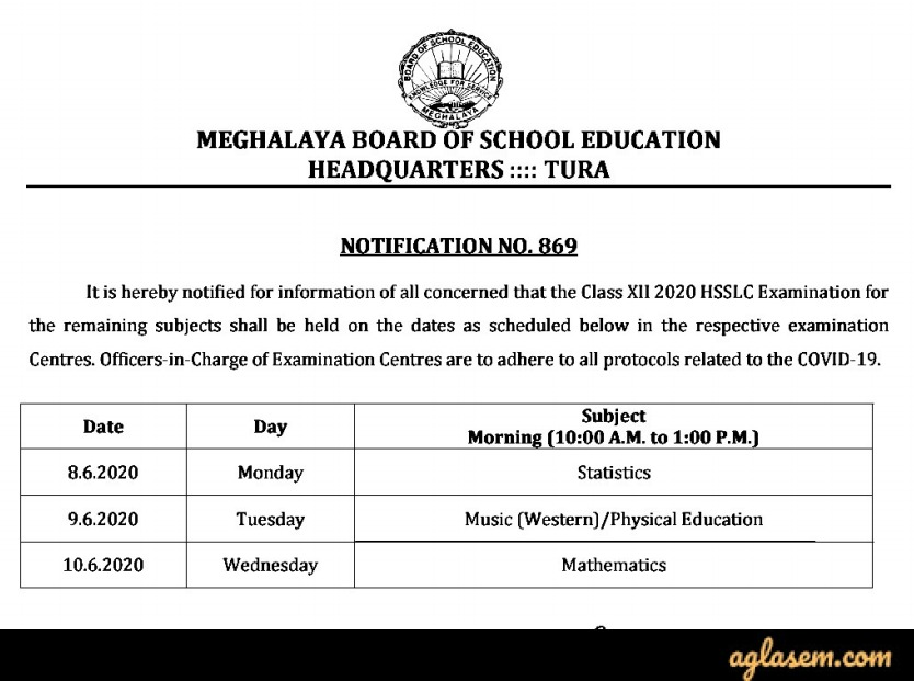 MBOSE HSSLCC New Exam Routine 2020