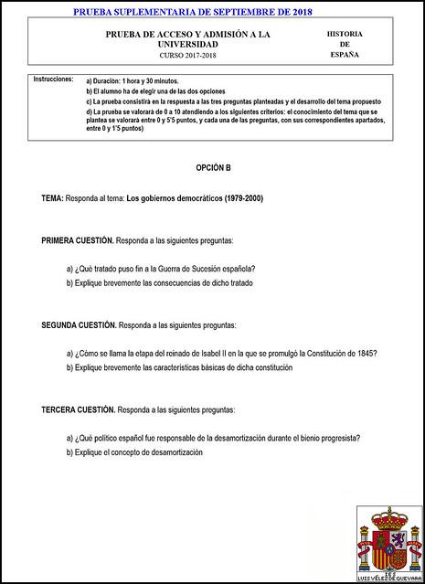 2017-2018 Historia de España Propuesta #3 Examen Suplementario de Septiembre (Opción «B»)