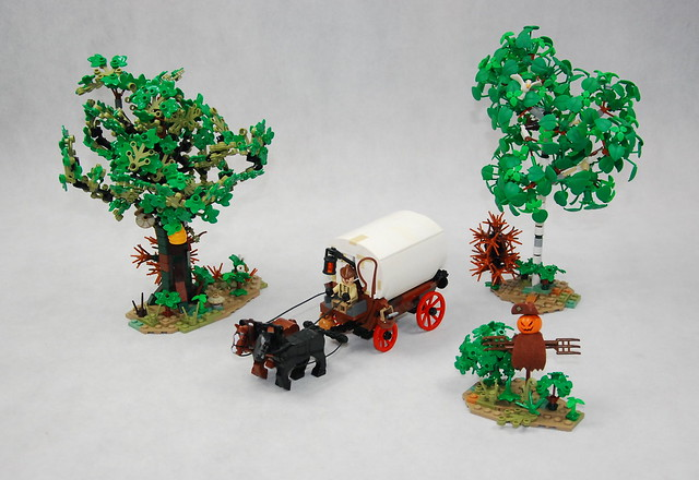 Just a wagon, scarecrow and some trees...