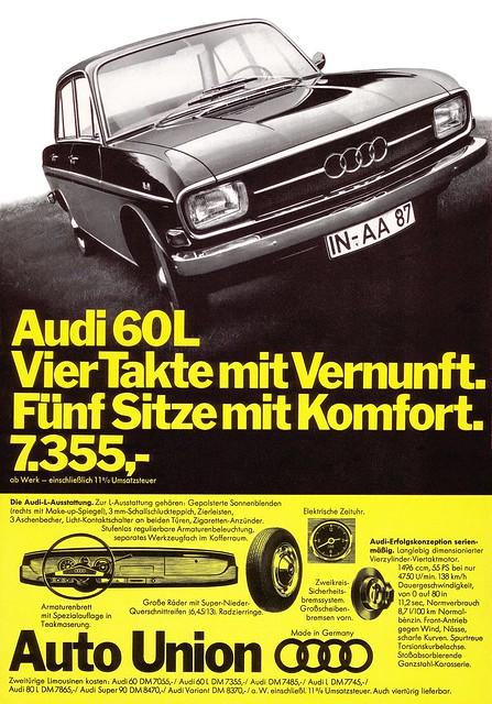 Audi 60 (1968) Typ F103 Vier Takte mit Vernunft