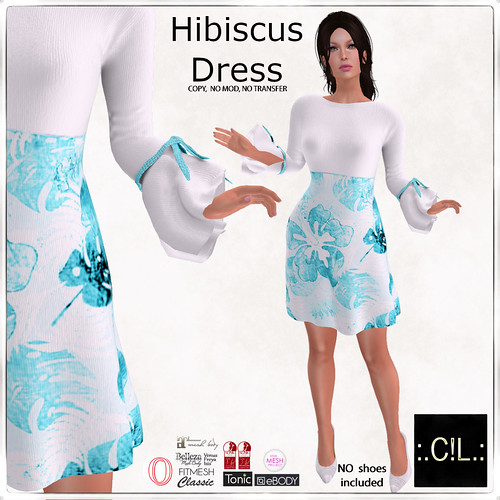 :.C!L.: Aqua Hibiscus Long Sleeve Detail Dress Poster