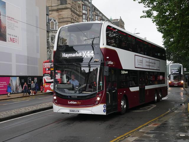 Lothian Volvo B8L Alexander Dennis Enviro 400XLB SG68LCA 1063 operating service X44 to Haymarket at Princes Street on 1 August 2019.