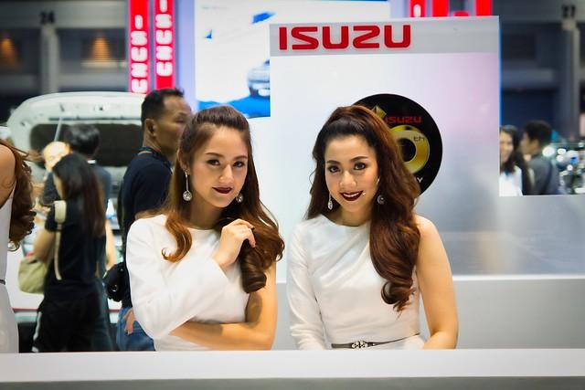 Beautiful presenters for Isuzu at the 38th Bangkok International Motorshow  at IMPACT Challenger hall in Muang Thong Thani, Nonthaburi, Thailand