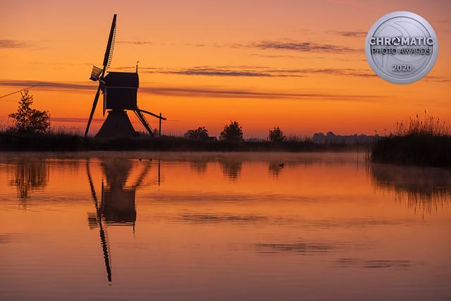 Windmill Broekmolen at Dawn