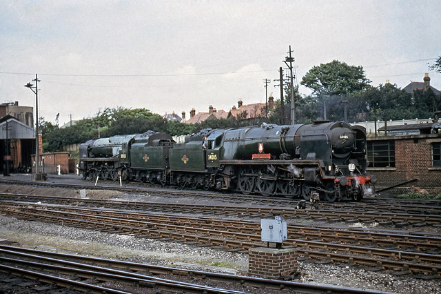34005 'Barnstaple' on Bournemouth shed June '66