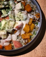 Grain bowl with yummy roasted veggies and avacado.