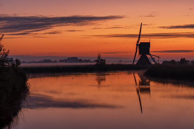 Windmill Broekmolen at early Dawn