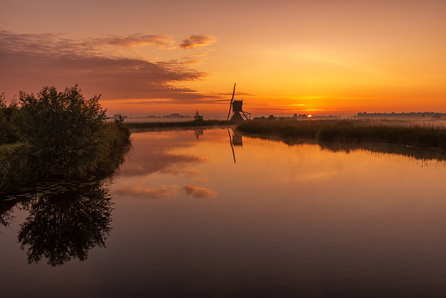 Windmill Broekmolen at Sunrise
