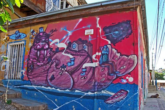 Mural in Valparaiso. Chile.