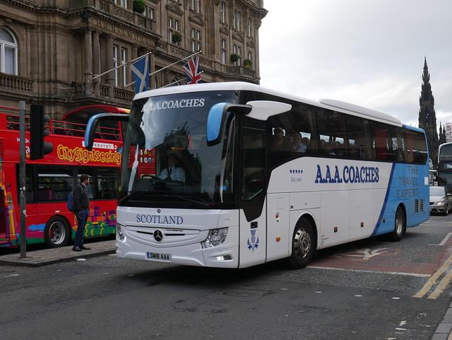 AAA Coaches of Kirknewton Mercedes Benz Tourismo Base DM18AAA at Princes Street, Edinburgh, on 5 August 2019.