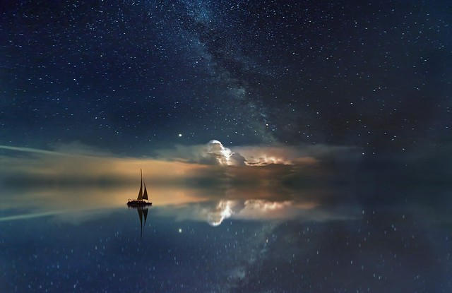 Ocean Starry Sky Milky Way Rest Sailing Boat Boat