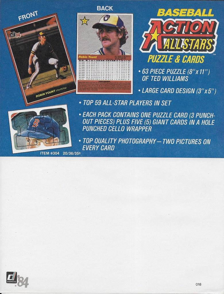 1984 Donruss Action All-Star Advertising Sheet