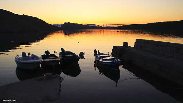 Samll port on golden dusk