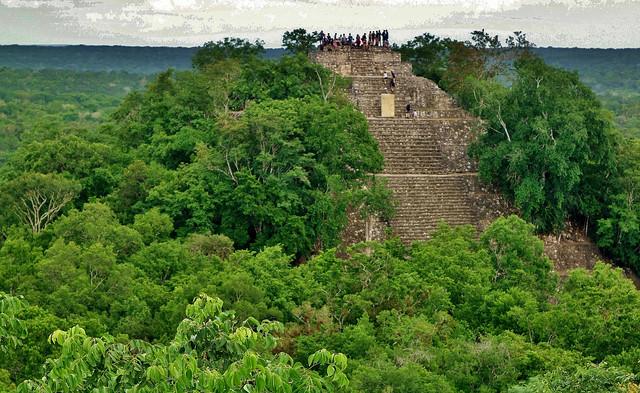 MEXICO, Mayastätte Calakmul, inmitten eines unendlich scheinenden Dschungels. verborgen, versteckt im tiefen Urwald , Blick auf die Struktur 1 die höchste Tempelpyramide, welche den grünen Dschungel überragt , grandios, 19754/12678