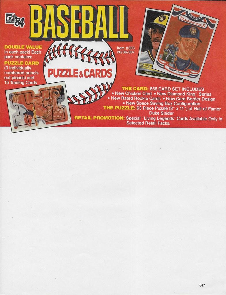 1984 Donruss Advertising Sheet