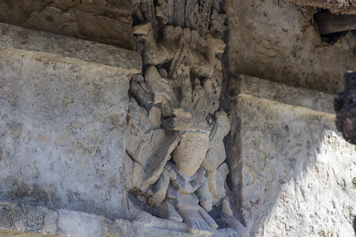 Carving in the ruins of Tulum, Mexico