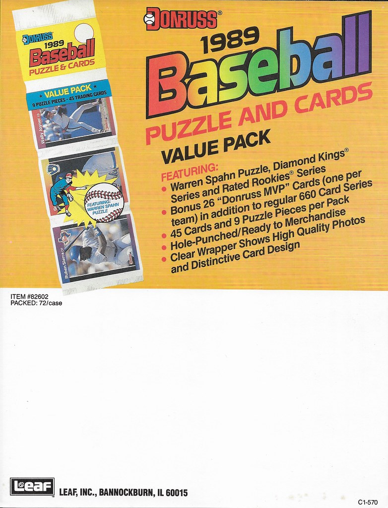 1989 Donruss Advertising Sheet