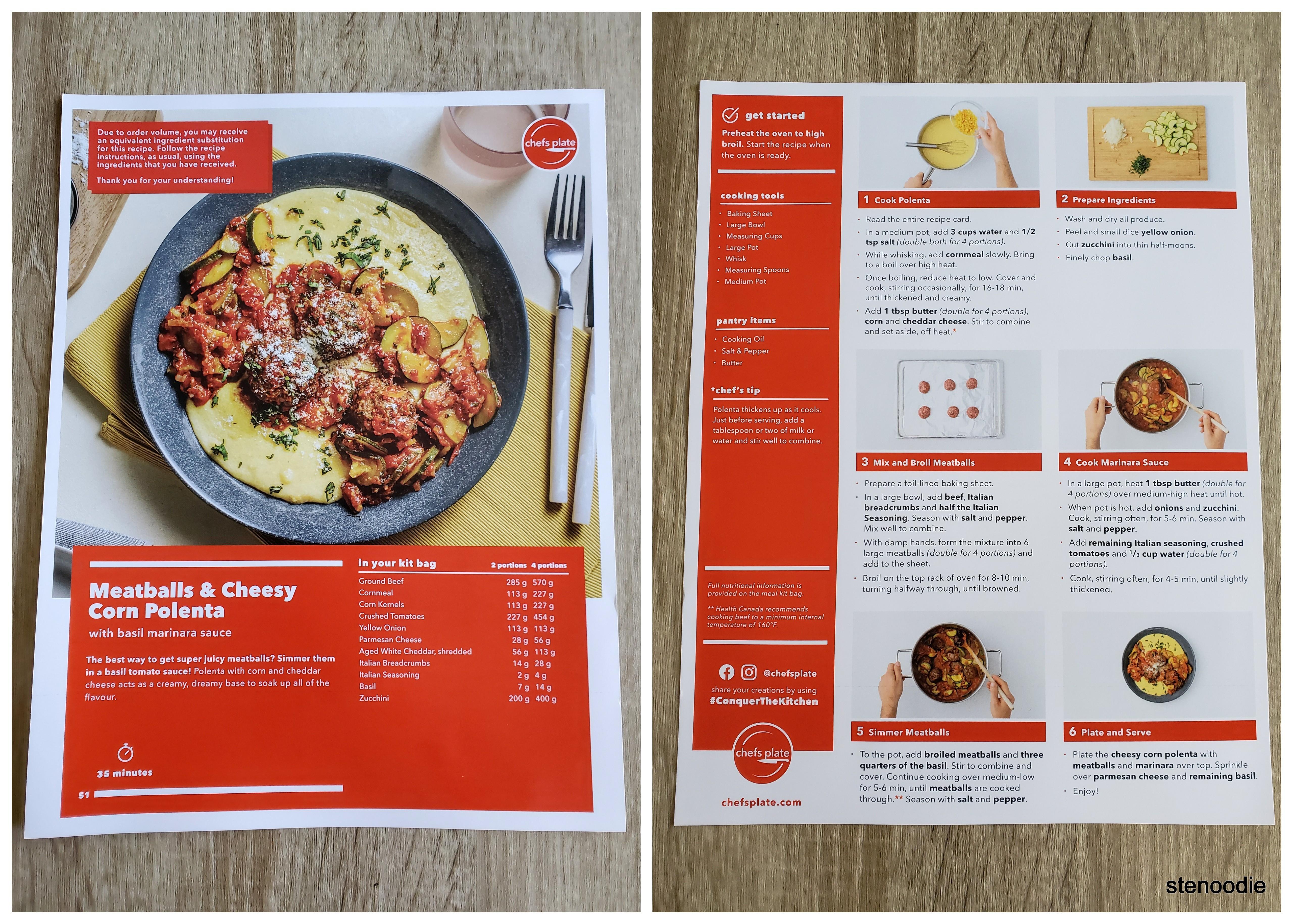 Meatballs & Cheesy Corn Polenta recipe card
