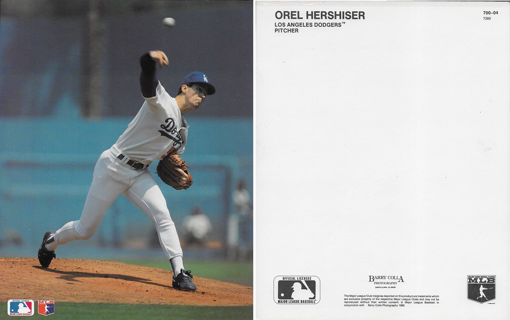 1989 Orel Hershiser Barry Colla 8x10 7389