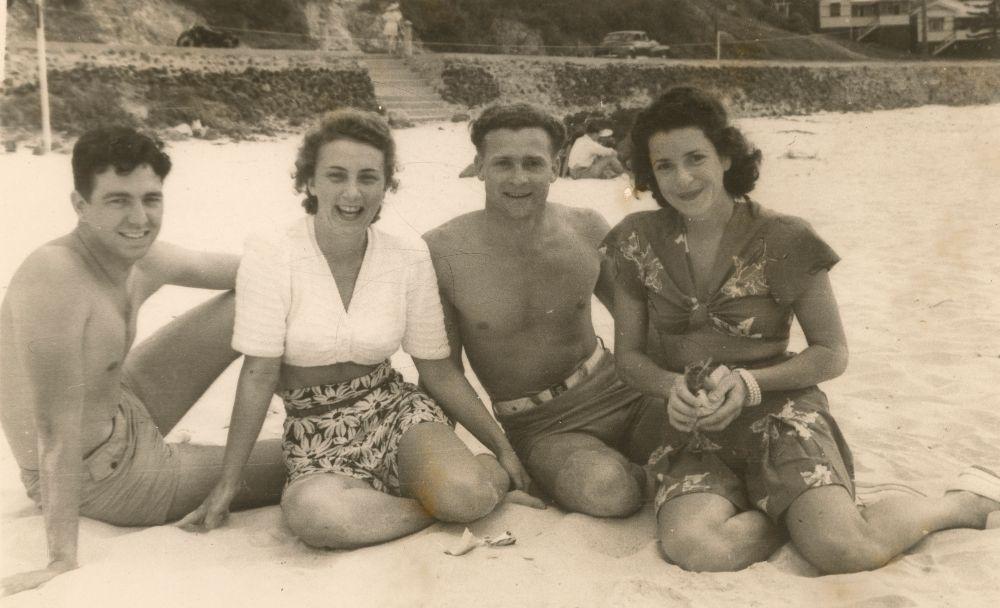 Harry McCallaum and friends relaxing on Kirra Beach at Coolangatta