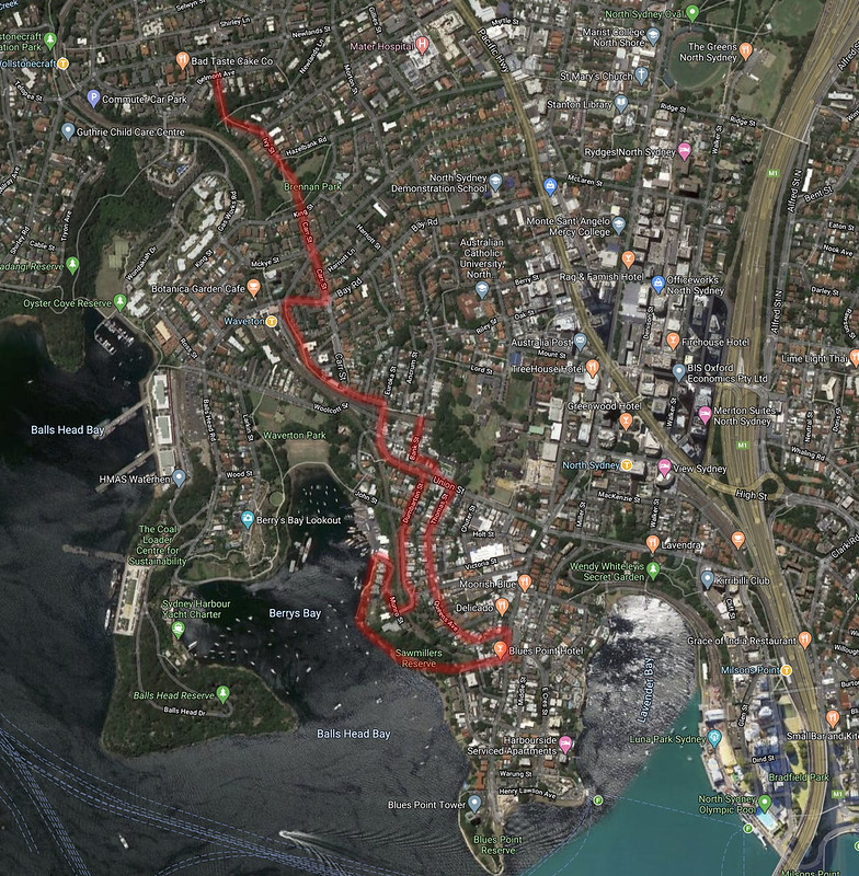 Map of walk through McMahons Point