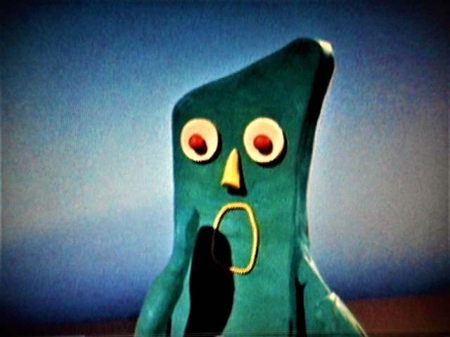 Gumby shocked by something- Clokey Productions from 1960's