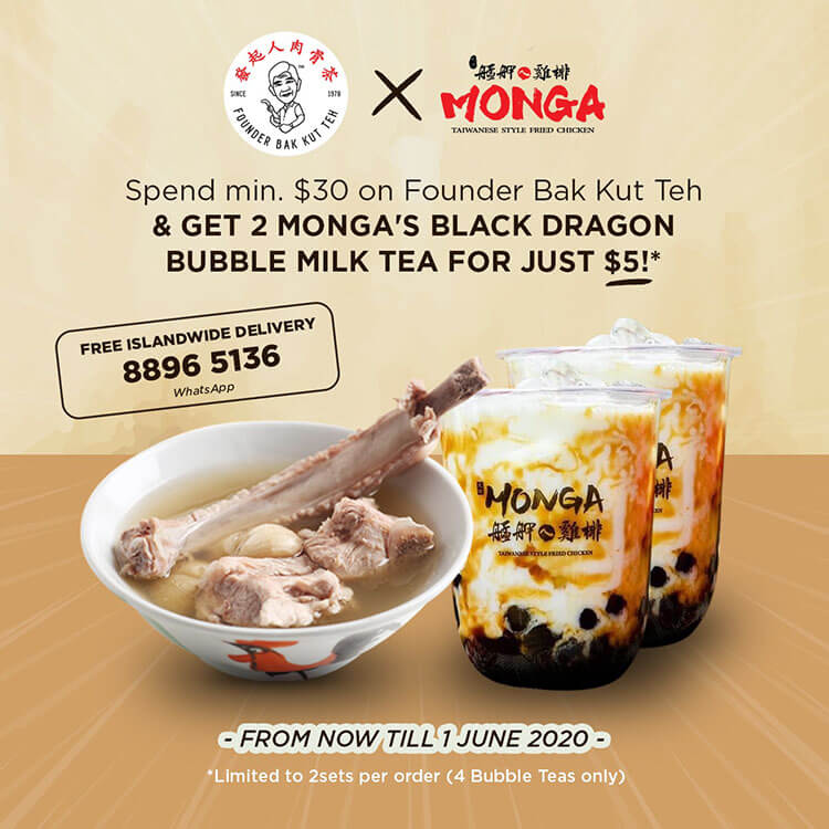 Founder Bak Kut Teh collaborate with Monga Taiwanese Fried Chicken