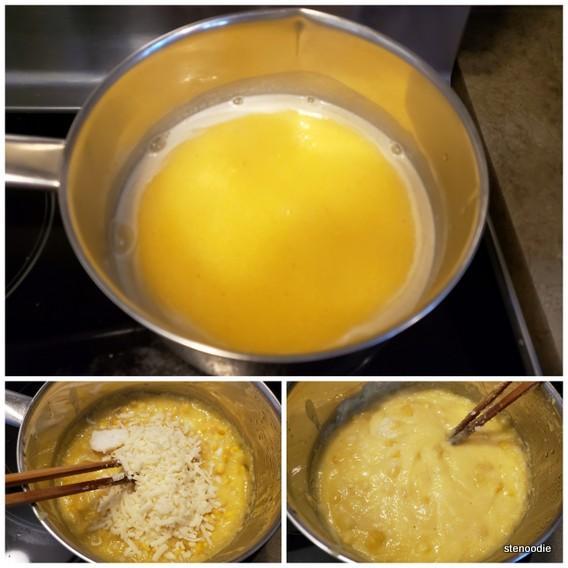 Making the cheesy corn polenta