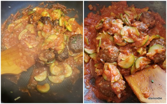 Adding the broiled meatballs to the marinara sauce