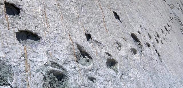 Huellas de dinosaurio en Cal Orcko (Bolivia)