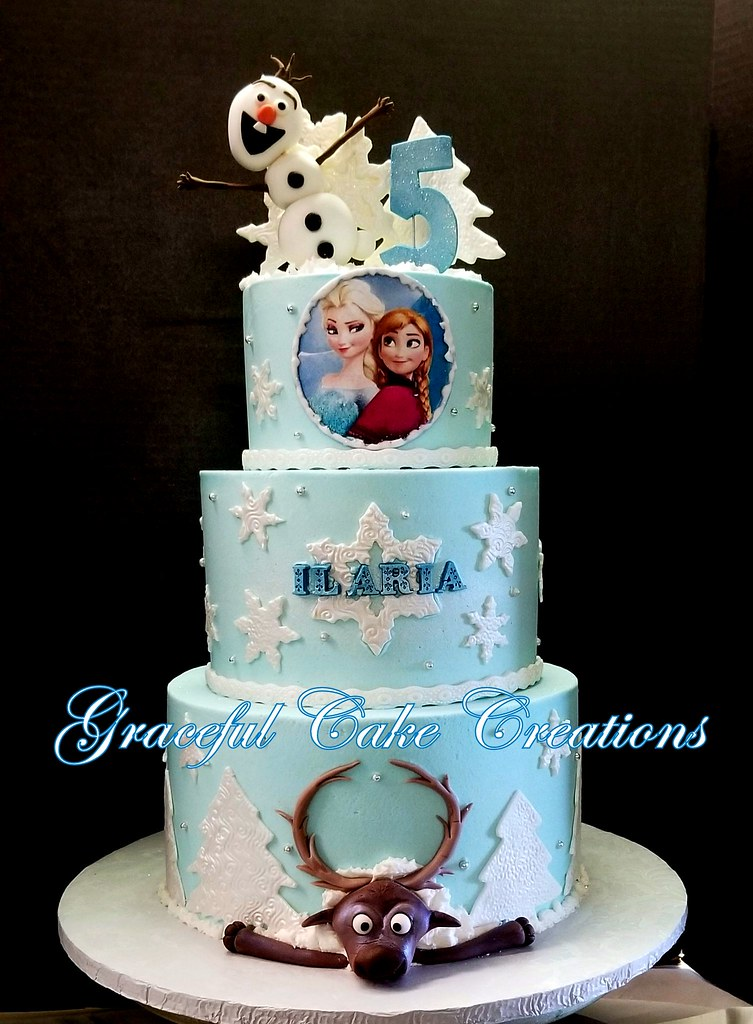 Brilliant Frozen Themed Birthday Cake With Elsa Anna Olaf And Sven Flickr Personalised Birthday Cards Paralily Jamesorg