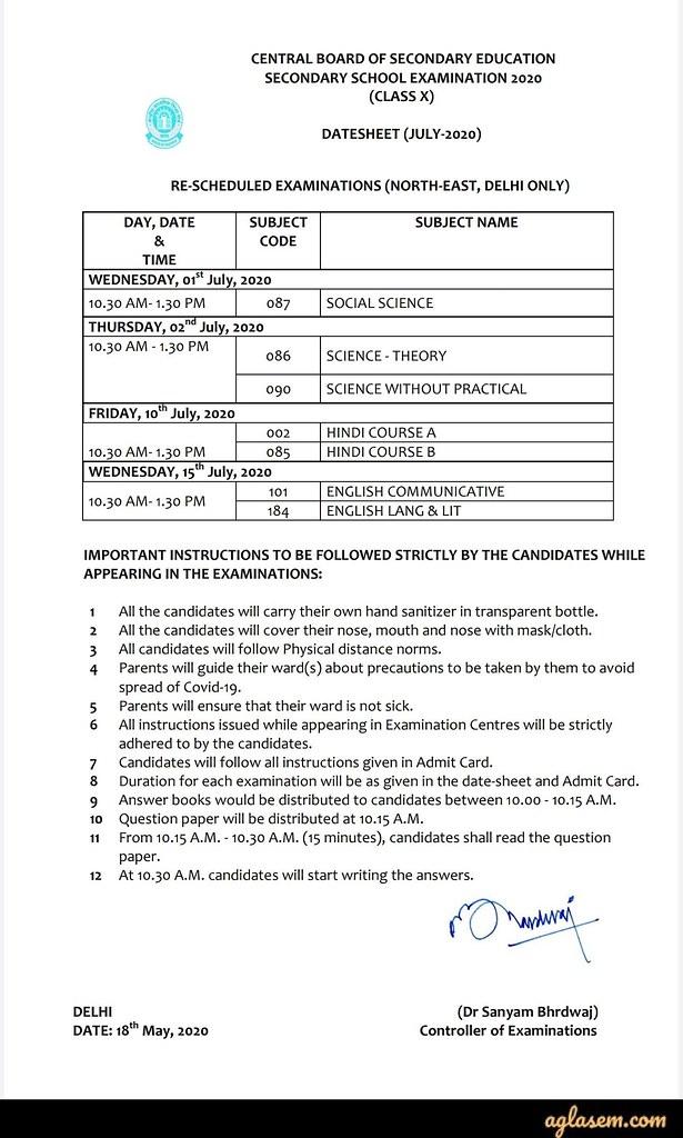 CBSE Class 10 Exam Date Sheet 2020