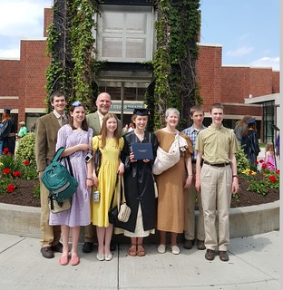 Mon, 05/18/2020 - 10:37 - A photograph of a homeschool family at a GCC's graduation ceremony several years ago