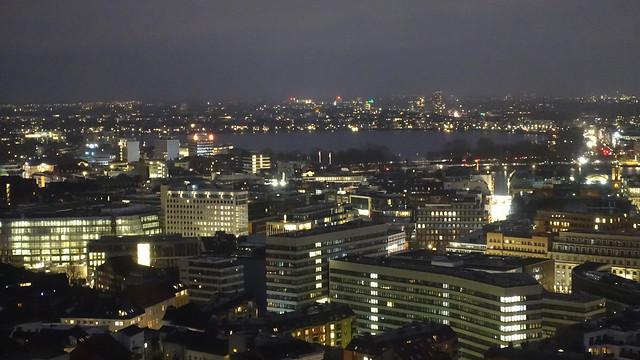 Hamburg after dark from St Michael's Church (Hauptkirche Sankt Michaelis)