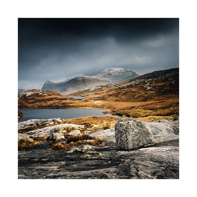 Loch and Mountain, Uisgneabhal Mor & Sron Scourst.