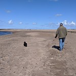 Duncan and Dexter on a deserted Spittal Beach, May 2020