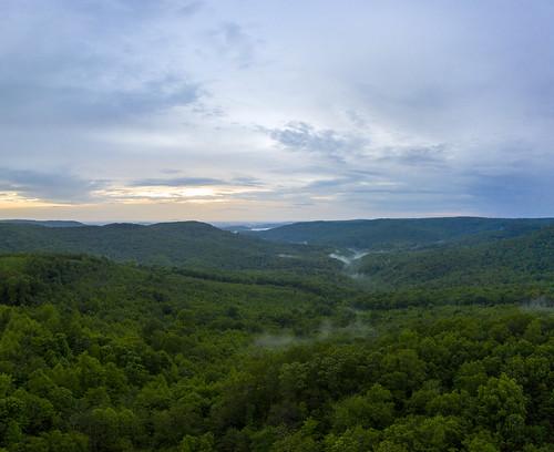 aerial drone dji mavic pro2 vanburencounty tennessee tn mulloyhollow fog valley gap gorge sunset highway clouds overcast forest green blue uppercumberland