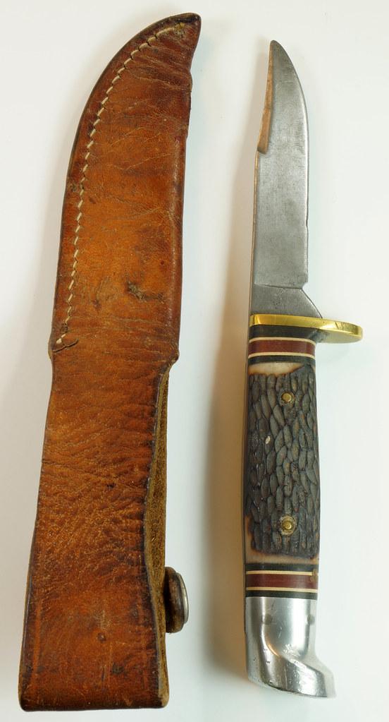 RD29675 Vintage 1967-1977 Western Hunting Knife 648B with Original Acorn Sheath DSC04646