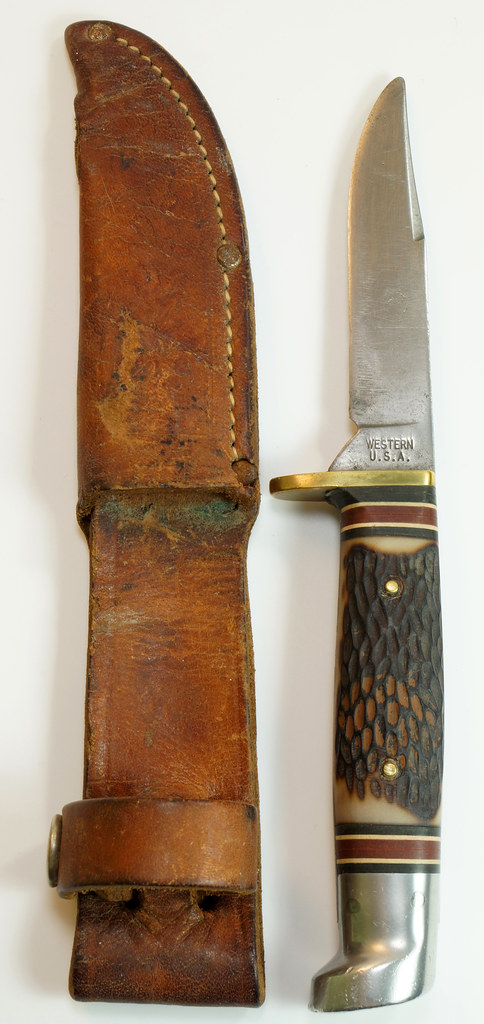 RD29675 Vintage 1967-1977 Western Hunting Knife 648B with Original Acorn Sheath DSC04645