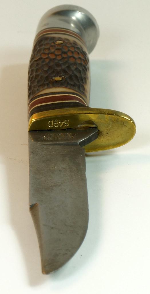 RD29675 Vintage 1967-1977 Western Hunting Knife 648B with Original Acorn Sheath DSC04656